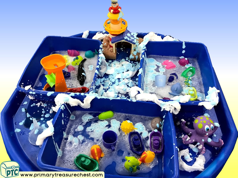 Seaside - Sea Life - Lighthouse - Boats - Under the Sea Themed Water Play Multi-sensory Mouldable Soap Tuff Tray Ideas and Activities