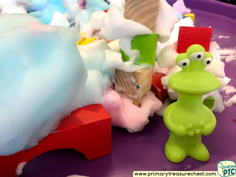 Space - Alien Themed Construction Multi-sensory Mouldable Soap Tuff Tray Ideas and Activities