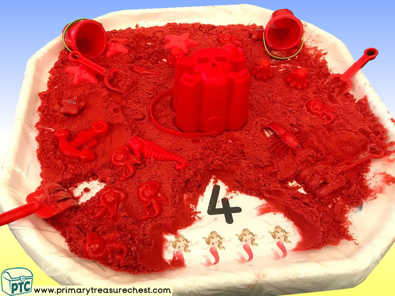 Pirates - Mermaids Themed Numbers Multi-sensory - Sand Tuff Tray Ideas and Activities
