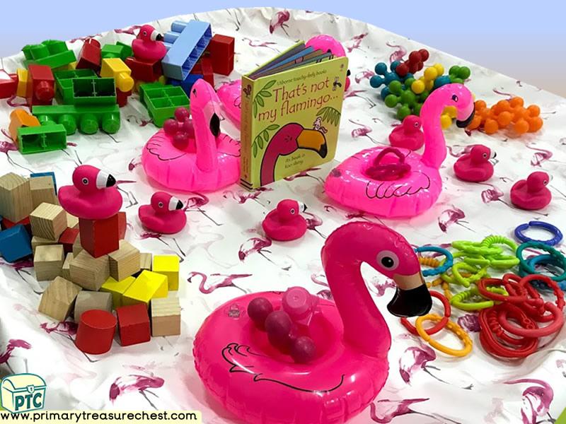 Safari - Flamingo - Jungle Animal Themed Construction Multi-sensory - Tuff Tray Ideas and Activities