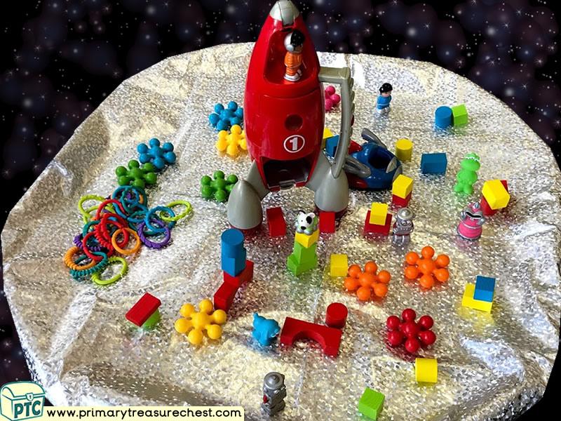 Space - Rocket - Astronaut - Alien Themed Construction Multi-sensory Tuff Tray Ideas and Activities