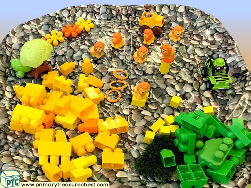 Safari - Lion - Jungle Animal Themed Construction Multi-sensory - Tuff Tray Ideas and Activities