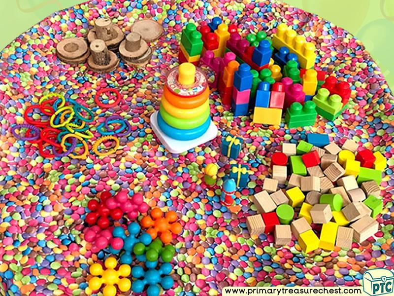 Birthday Themed Construction Multi-sensory Tuff Tray Ideas and Activities