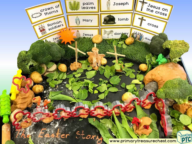 Easter - Easter Story Themed Small World Multi-sensory - Vegetables - Playdough Tuff Tray Ideas and Activities