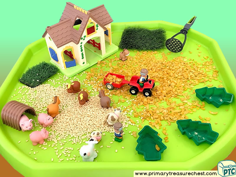 Farm Animals - Farm - Foods - Harvest - Growing Themed Small World Multi-sensory Cereal Tuff Tray Ideas and Activities
