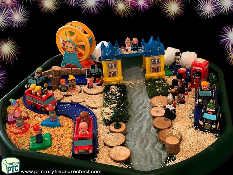 New Year – New Years Eve - London – Celebrations – Fun Fair Themed Small World Play – Multi-sensory Tuff Tray Ideas and Activities