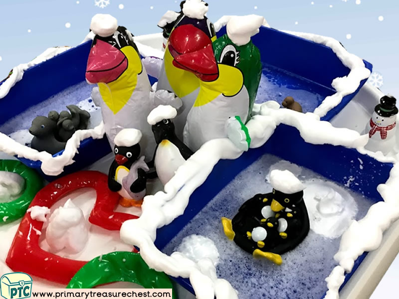 Winter - Penguin - Polar Animals Themed Water Multi-sensory – Mouldable Soap Tuff Tray Ideas and Activities