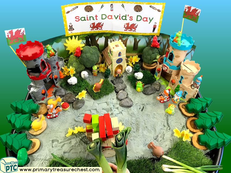 Wales - Saint David's Day - Dydd Santes Dwynwen Themed Small World Multi-sensory - Sand Tray Ideas and Activities