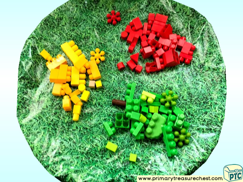 Colours – Colour Sorting – Colour Recognition Themed Construction Multi-sensory Tuff Tray Ideas and Activities