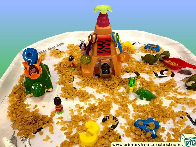 Dinosaur - Caveman Themed Numbers - Multi-sensory - Cereals Tuff Tray Ideas and Activities