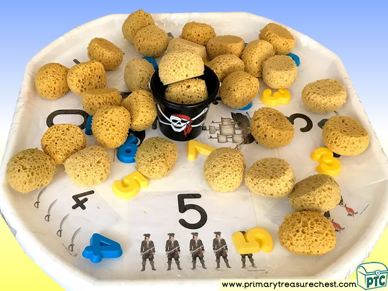 Pirates Themed Numbers Multi-sensory - Sponges Tuff Tray Ideas and Activities