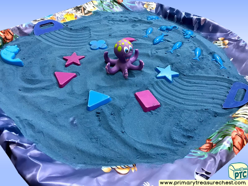 Sea life - Under the Sea - Octopus Themed Coloured Sand Multi-sensory Tuff Tray Ideas and Activities
