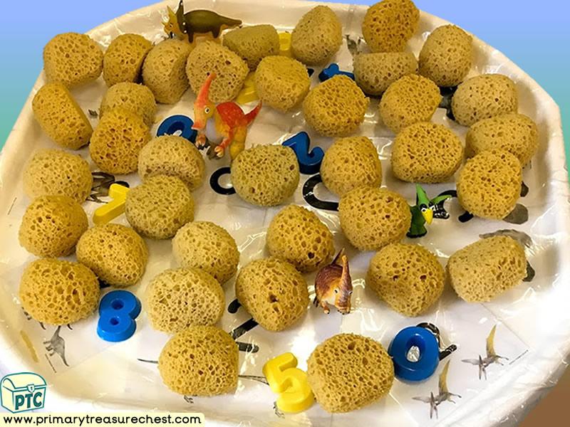 Dinosaur - Caveman Themed Numbers - Multi-sensory - Sponges Tuff Tray Ideas and Activities