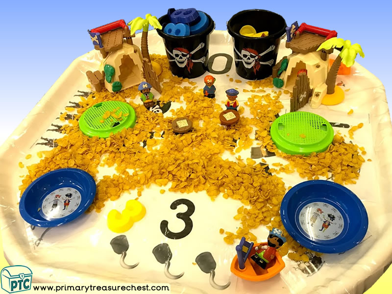 Pirates - Treasure - Pirate Island Themed Numbers Multi-sensory - Cereal Tuff Tray Ideas and Activities