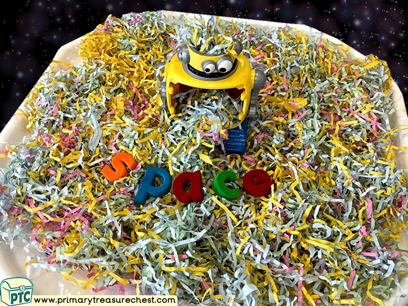 Space - Robot Themed Phonics - Phonic Readiness - Letter Sound Multi-sensory Shredded Paper Tuff Tray Ideas and Activities