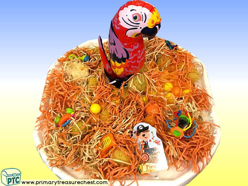 Pirates - Parrot Themed Phonics - Phonic Readiness - Letter Sounds Multi-sensory - Shredded Paper Tuff Tray Ideas and Activities