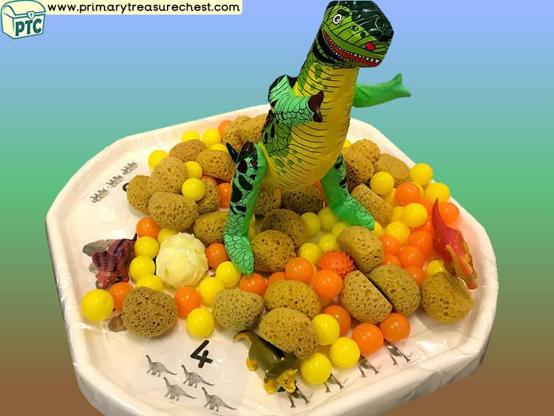 Dinosaur Themed Numbers - Multi-sensory - Sponges Tuff Tray Ideas and Activities