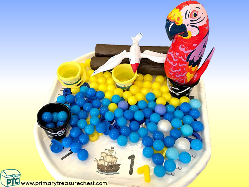Pirates - Pirate Island - Pirate Ship - Parrot Themed Numbers Multi-sensory - Plastic Balls Tuff Tray Ideas and Activities