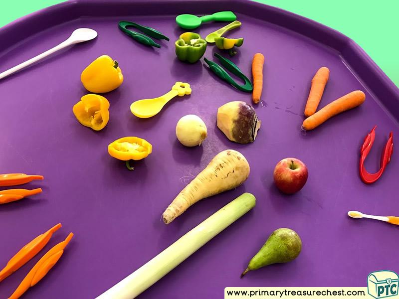 Farm - Farm Foods - Harvest - Vegetables Themed Discovery Multi-sensory Tuff Tray Ideas and Activities