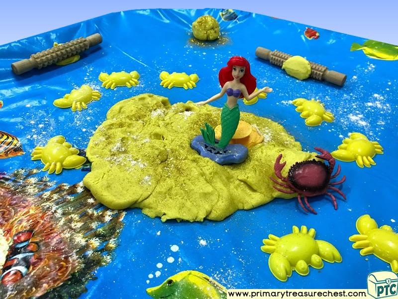 Sea life - Under the Sea - Mermaid Themed Playdough Multi-sensory Tuff Tray Ideas and Activities