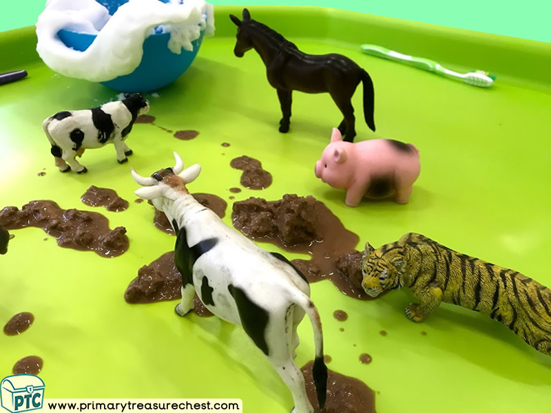 Farm - Farm Animals - Cleaning - Odd One Out Themed Discovery Multi-sensory Tuff Tray Ideas and Activities