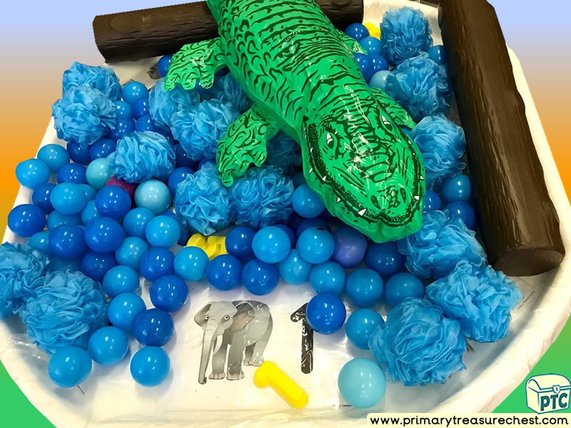 Safari - Crocodile - Jungle Animal Themed Numbers Multi-sensory - Plastic Balls Tuff Tray Ideas and Activities