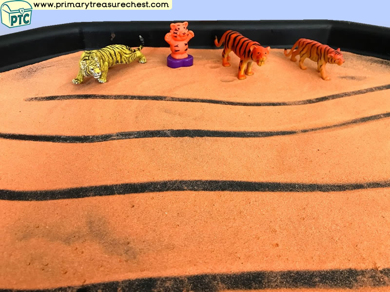 Safari - Lion - Jungle Animal Themed Mark Making Pre-Writing Patterns Letter Formation Multi-sensory - Coloured Sand Tuff Tray Ideas and Activities