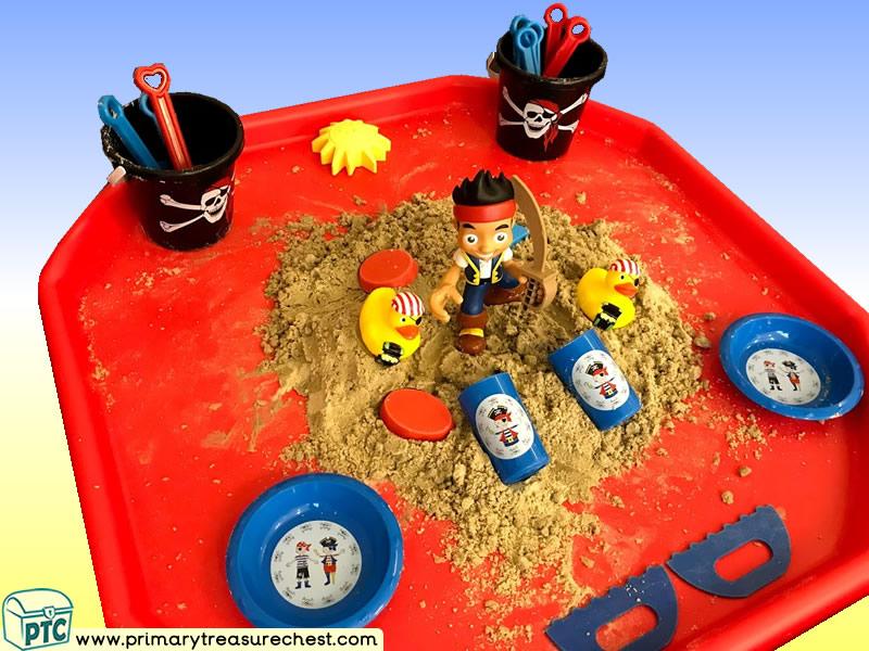 Pirates - Treasure - Pirate Island - Jake Themed  Multi-sensory - Sand Tuff Tray Ideas and Activities