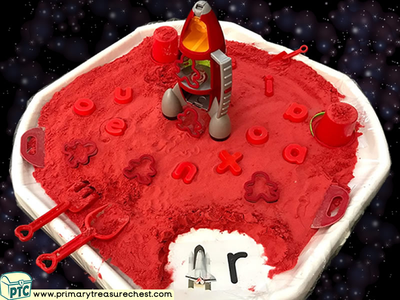 Space - Rocket - Astronauts - Mars Themed Phonics - Phonic Readiness - Letter Sound Multi-sensory Coloured Sand Tuff Tray Ideas and Activities