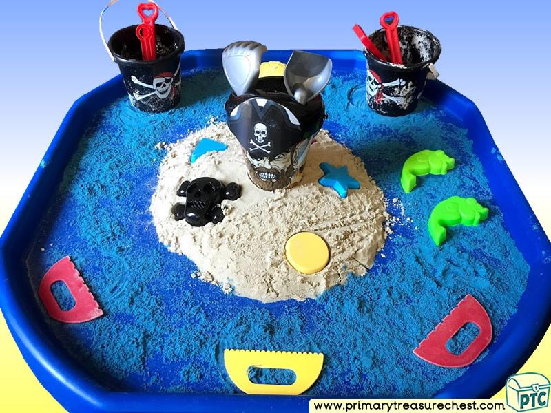 Pirates - Treasure - Pirate Island Themed  Multi-sensory - Coloured Sand Tuff Tray Ideas and Activities