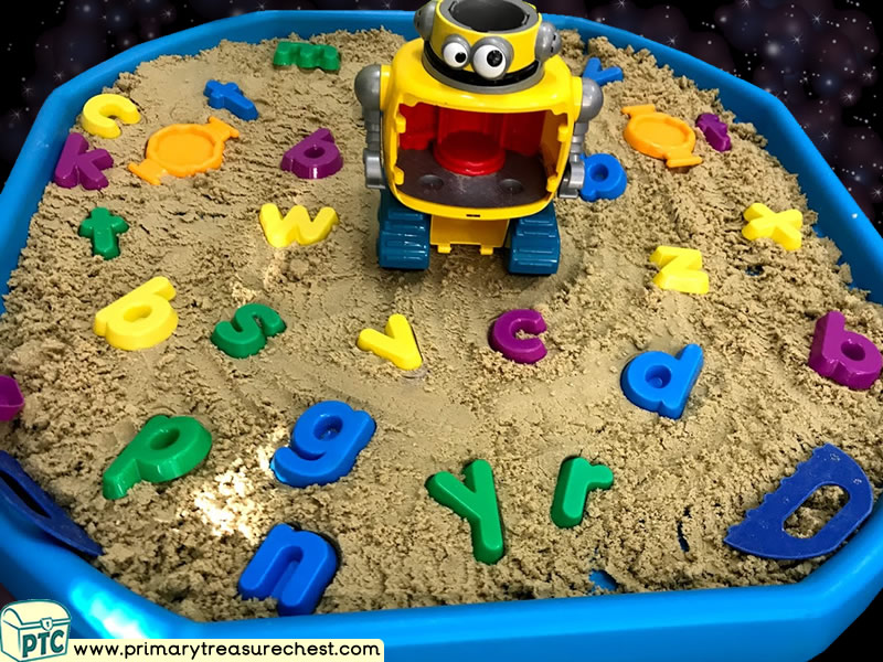 Space - Aliens - Robot Themed Phonics - Phonic Readiness - Letter Sound Multi-sensory Sand Tuff Tray Ideas and Activities