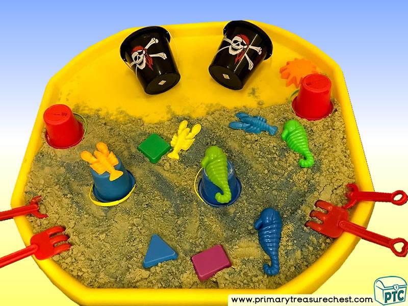 Pirates - Treasure Themed  Multi-sensory - Sand Tuff Tray Ideas and Activities