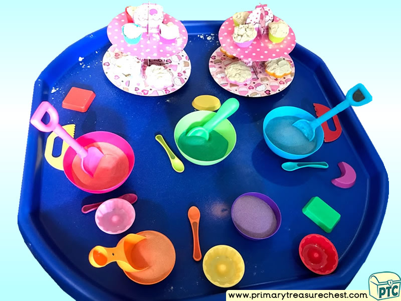Tea Party - Colours – Colour Sorting – Colour Recognition - Themed Coloured Sand Multi-sensory Tuff Tray Ideas and Activities