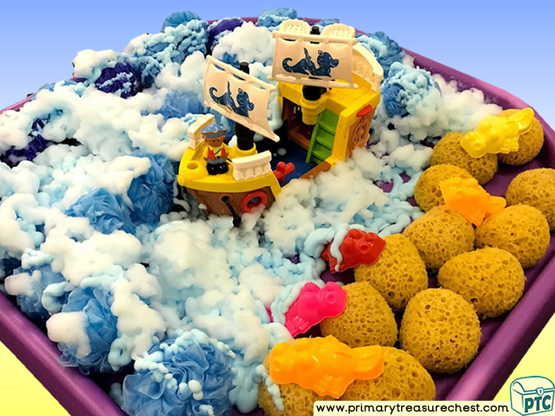Pirates - Pirate Island - Pirate Ship Themed Small World Multi-sensory - Mouldable Soap - Sponges Tuff Tray Ideas and Activities