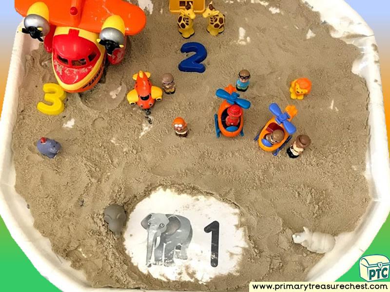Safari - Plane - Jungle Animal Themed Small World - Numbers Multi-sensory - Sand Tuff Tray Ideas and Activities