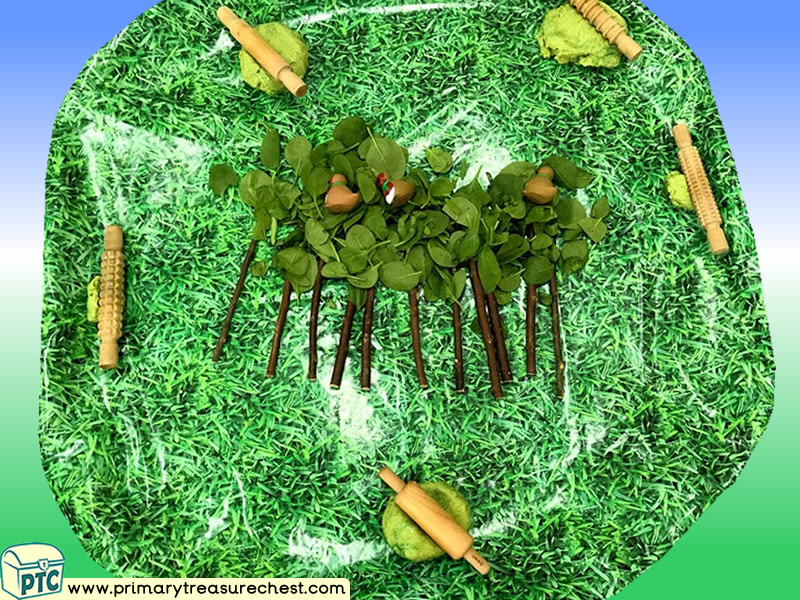 Our World - Arbor Day - Trees Themed Playdough Discovery Multi-sensory Tuff Tray Ideas and Activities