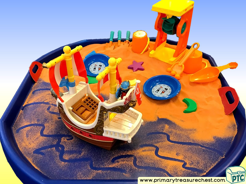 Pirates - Pirate Ship - Treasure - Pirate Island Themed Small World  Multi-sensory - Coloured Sand Tuff Tray Ideas and Activities