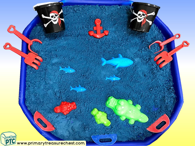 Pirates - Under the Sea Themed  Multi-sensory - Coloured Sand Tuff Tray Ideas and Activities