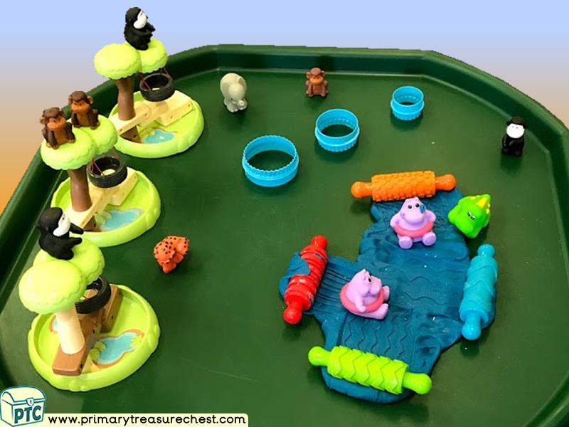Safari - Monkey - Hippo - Jungle Animal Themed Playdough  Multi-sensory - Tuff Tray Ideas and Activities