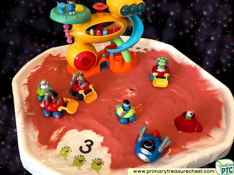 Space - Space Station - Astronaut - Mars - Alien Themed Numbers Multi-sensory Coloured Sand Tuff Tray Ideas and Activities