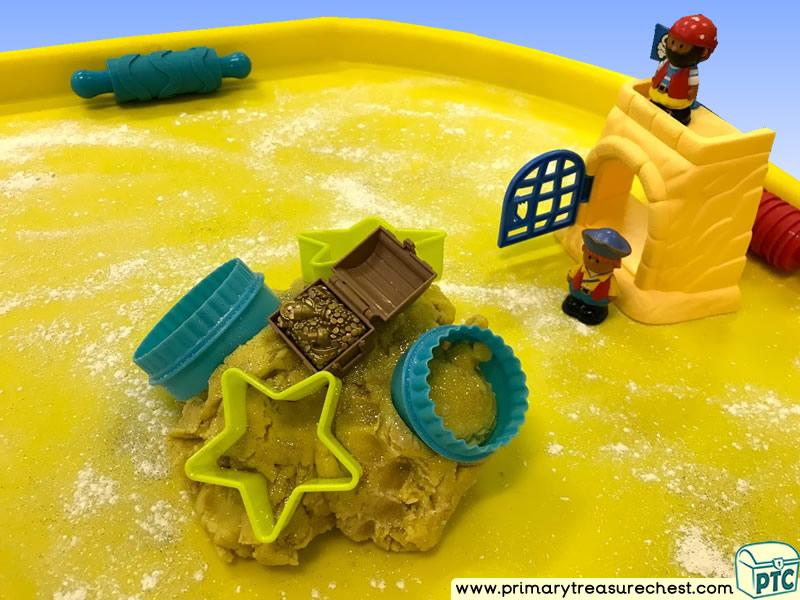 Pirates - Treasure - Pirate Island Themed  Small World Multi-sensory Playdough Tuff Tray Ideas and Activities
