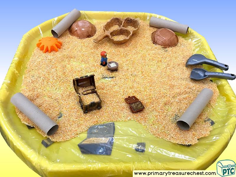 Pirates - Treasure - Pirate Island  Themed Discovery Multi-sensory - Coloured Rice Tuff Tray Ideas and Activities