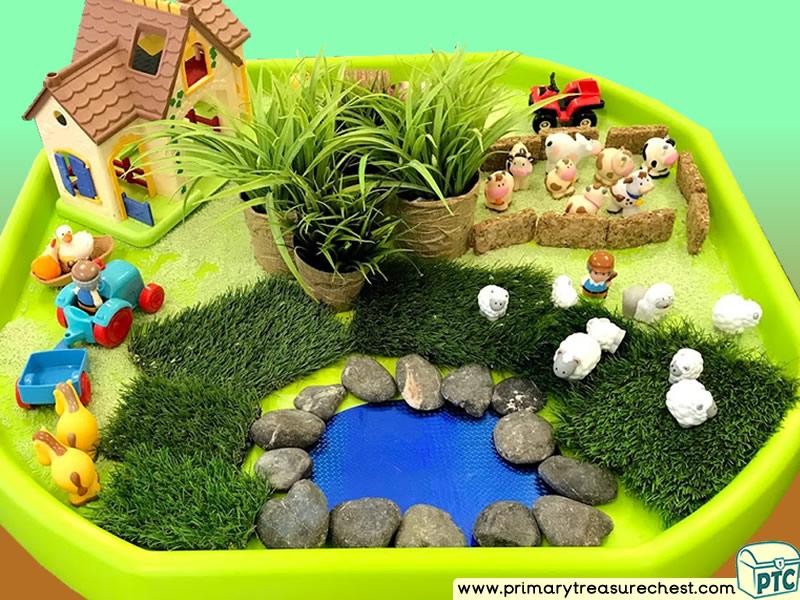 Farm Animals - Farmer - Farm Themed Small World Multi-sensory Cereal Tuff Tray Ideas and Activities