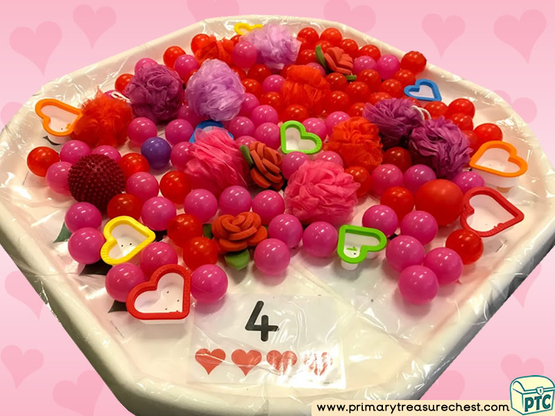 Valentine's Day - Dydd Santes Dwynwen - Heart Themed Numbers Multi-sensory – Balls - Sponges Tuff Tray Ideas and Activities