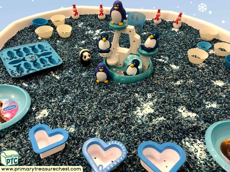 Winter - Snow – Penguin Themed Small World Play – Multi- sensory Tuff Tray Ideas and Activities