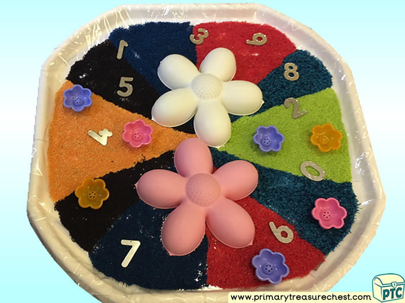 Colours – Colour Recognition - Flowers Themed Numbers Multi-sensory - Coloured Sand Tuff Tray Ideas and Activities