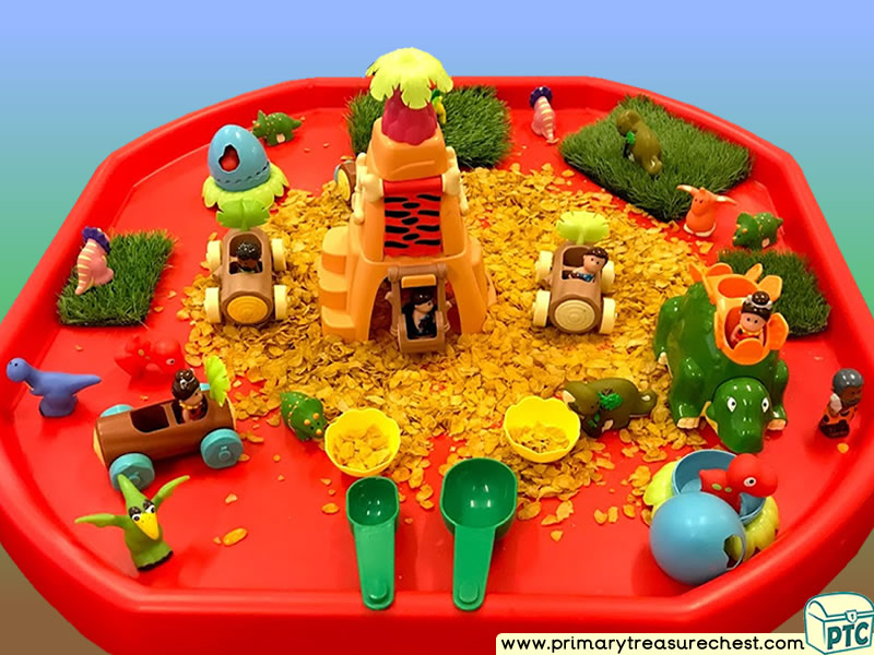 Dinosaurs - Cave - Caveman Themed Small World Multi-sensory - Cereals Tuff Tray Ideas and Activities