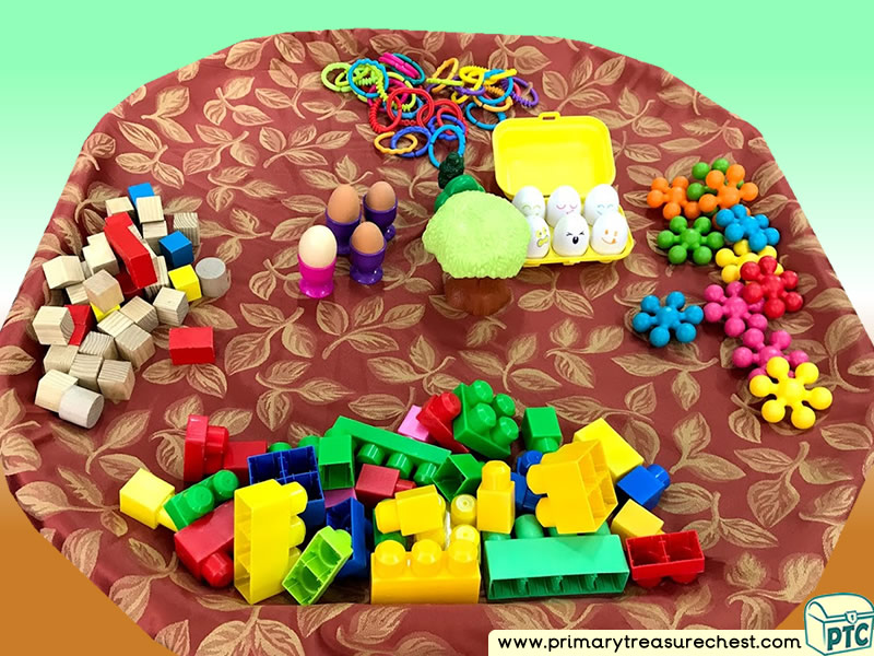 Food - Egg - Easter Themed Construction Multi-sensory Tuff Tray Ideas and Activities