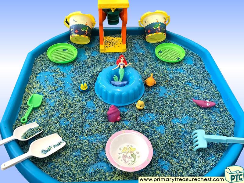 Sea life - Under the Sea - Mermaid Themed Small World - Multi-sensory - Cereal Tuff Tray Ideas and Activities