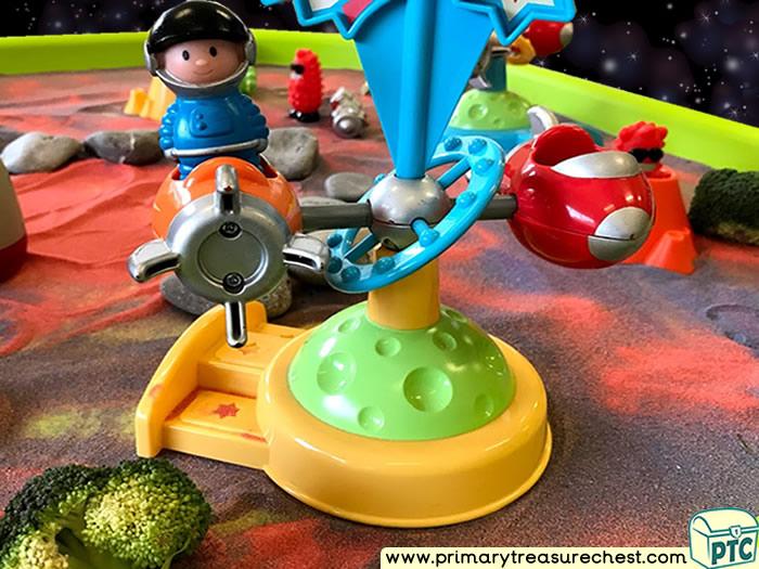 Space - Rocket - Astronauts - Aliens Themed Small World Multi-sensory Coloured Sand Tuff Tray Ideas and Activities